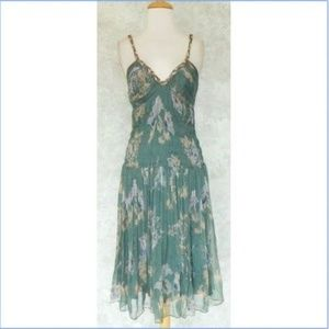 REBECCA TAYLOR Green Floral Silk Empire Dress